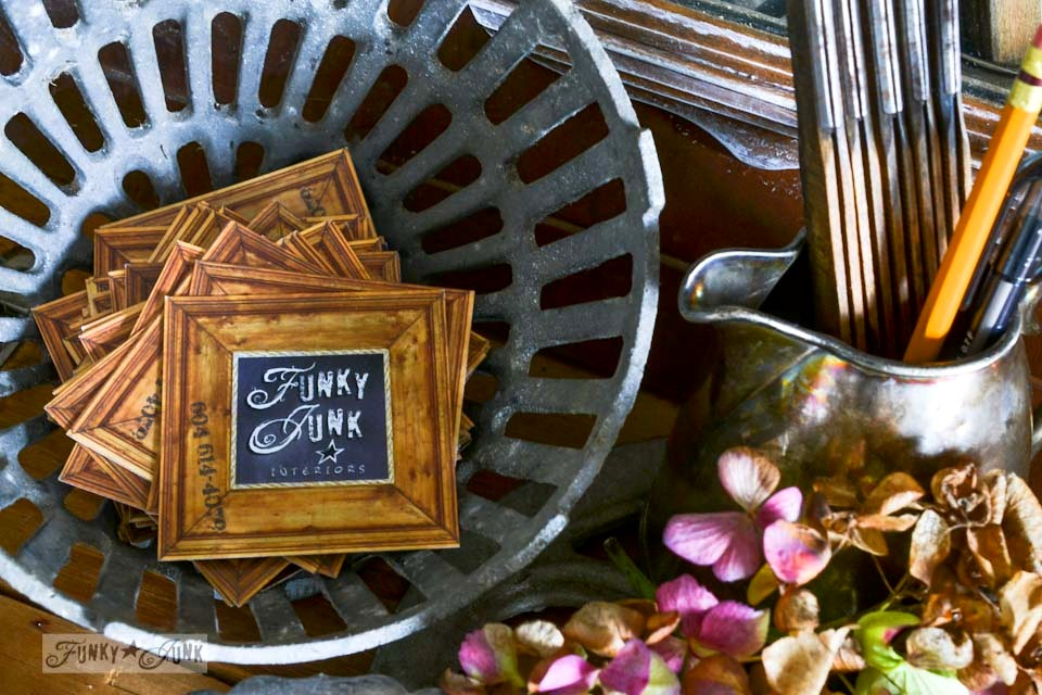 Vintage drain cover business card holder  / Fall junkers unite with an ironing board table, a pin board and a linkup! via https://www.funkyjunkinteriors.net/