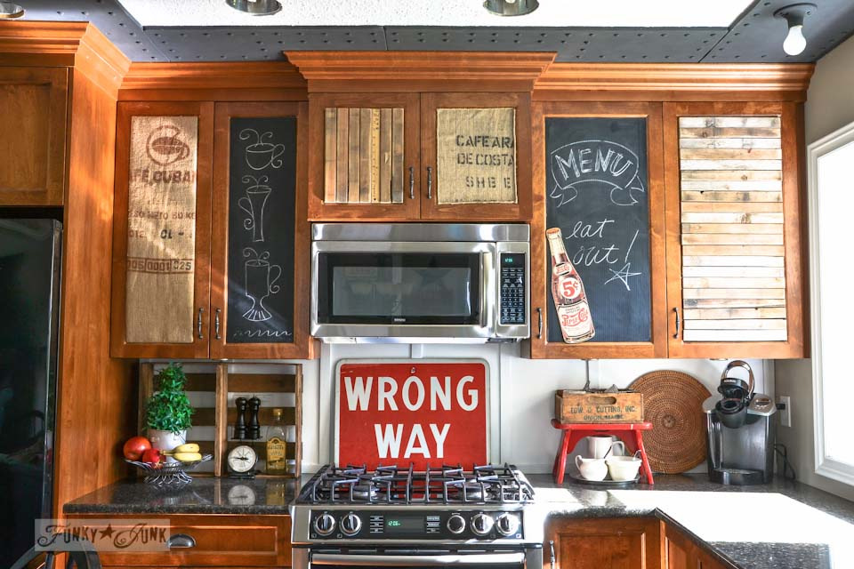 Wood strips, burlap and chalkboard on kitchen cupboards  / part of Junkers Unite with junky kitchen cupboards, a pin board and a link up! via https://www.funkyjunkinteriors.net/