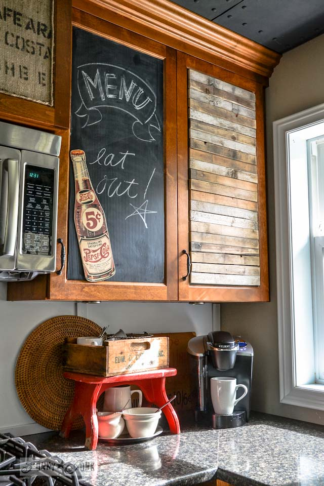 Funky kitchen cabinet treatment / part of Junkers Unite with junky kitchen cupboards, a pin board and a link up! via https://www.funkyjunkinteriors.net/
