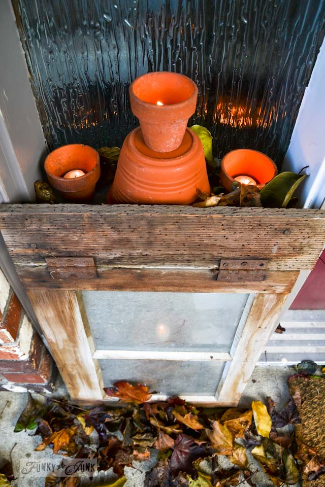 candles in clay pots  /  Happy cheater Halloween decorating! No carving required. via https://www.funkyjunkinteriors.net/