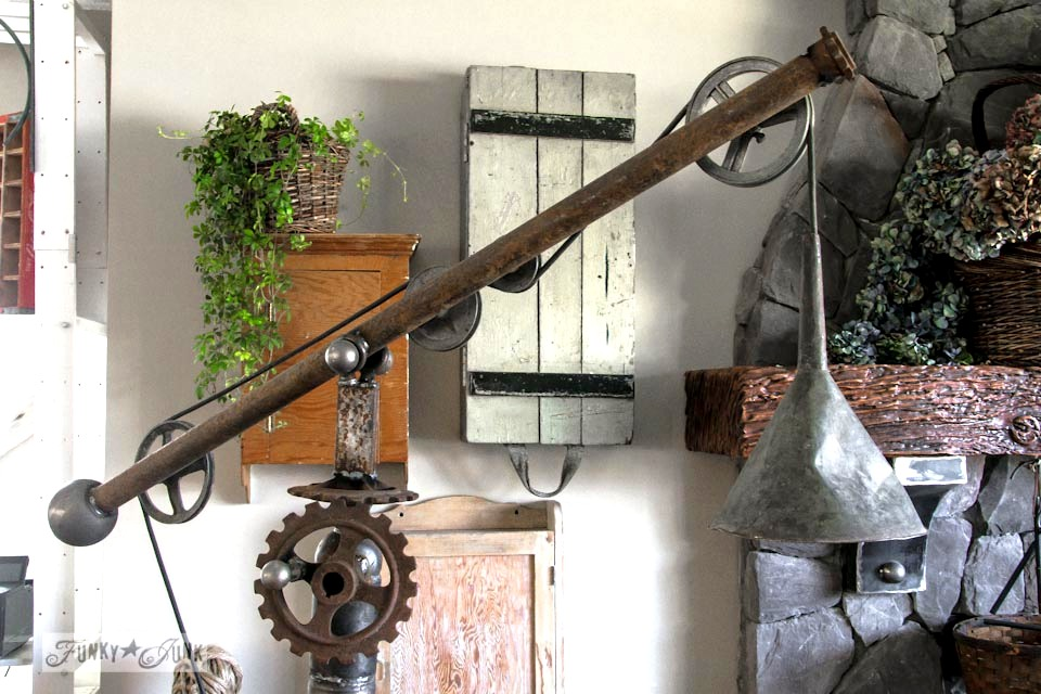 A Pottery Barn inspired oil funnel gear junk lamp, via http://www.funkyjunkinteriors.net/