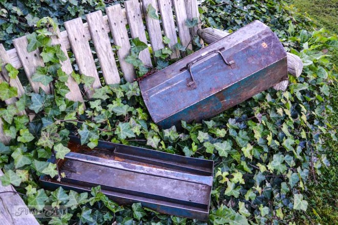 Say oh my to Art... Oh No! Aqua tool boxes on ivy covered bench via https://www.funkyjunkinteriors.net/