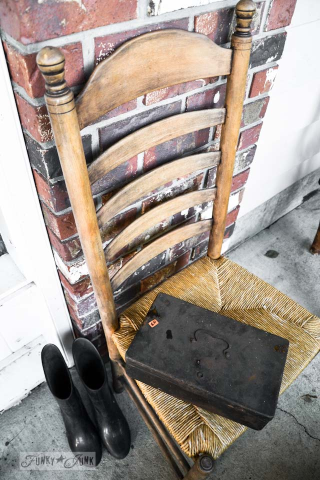 Say oh my to Tetanus Shot / black toolbox on chair / https://www.funkyjunkinteriors.net/