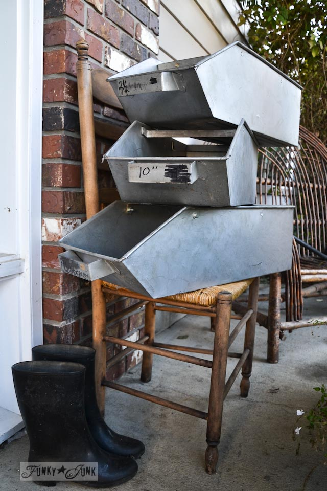 stacked antique metal bins via https://www.funkyjunkinteriors.net/