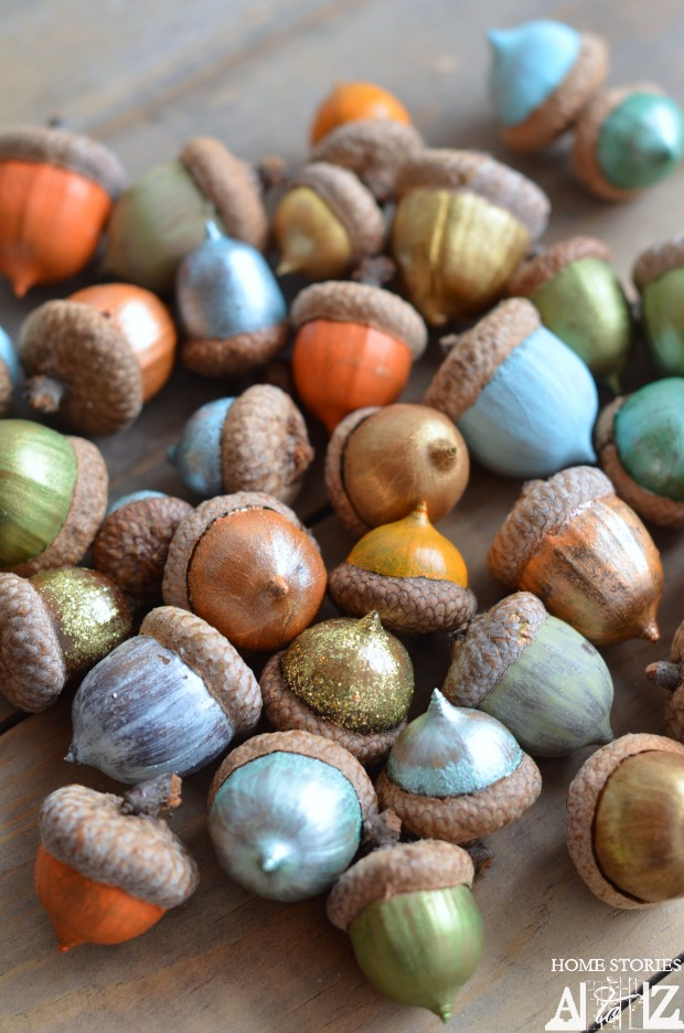Funky colourful acorns by Home Stories A to Z, featured on http://www.funkyjunkinteriors.net/