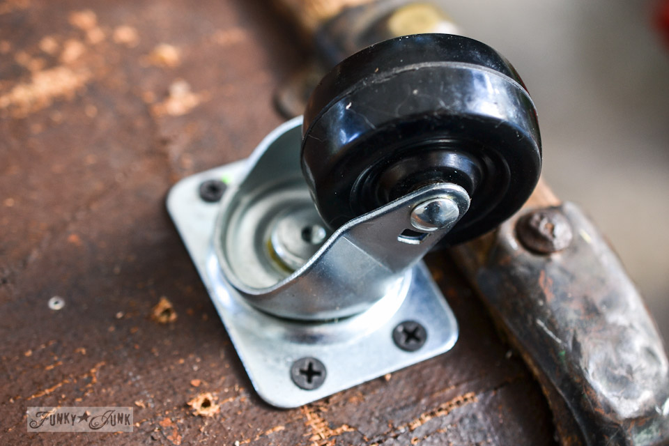 Choose casters with ball bearings for the smoothest glide / part of When new casters for a trunk win over vintage rust! via  https://www.funkyjunkinteriors.net/