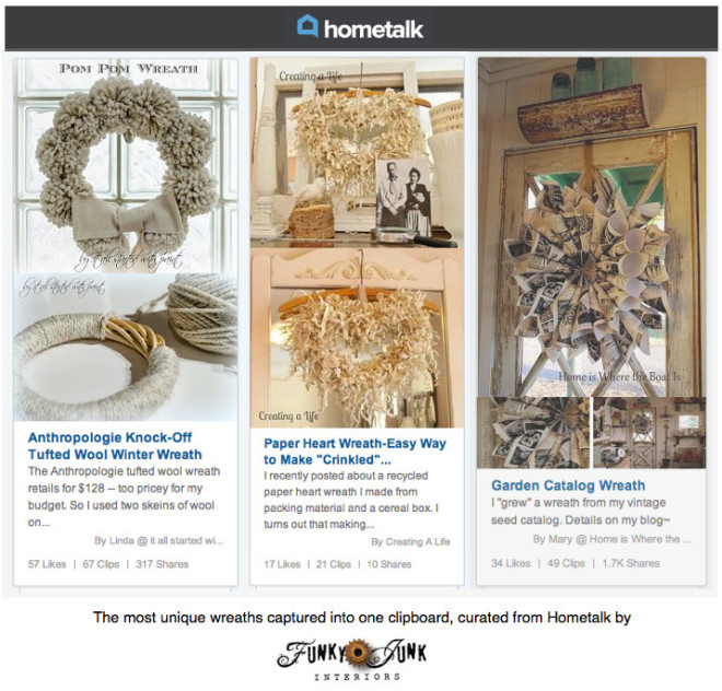 Wonderful Wreaths - the most unique wreaths captured into one clipboard, curated from Hometalk by http://www.funkyjunkinteriors.net/