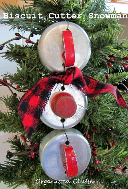 Biscuit Cutter Snowman Christmas Ornament by Organized Clutter, featured on https://www.funkyjunkinteriors.net/