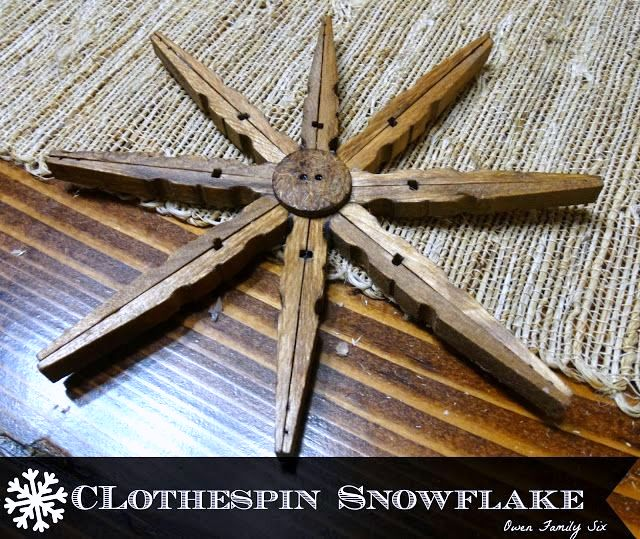 Clothespin Snowflake Christmas Ornaments, by Owen Family Six, featured on https://www.funkyjunkinteriors.net/