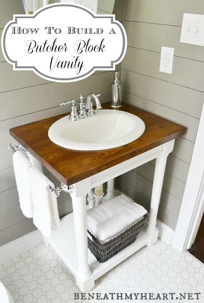 How to build a butcher block vanity by Beneath My Heart featured on http://www.funkyjunkinteriors.net/