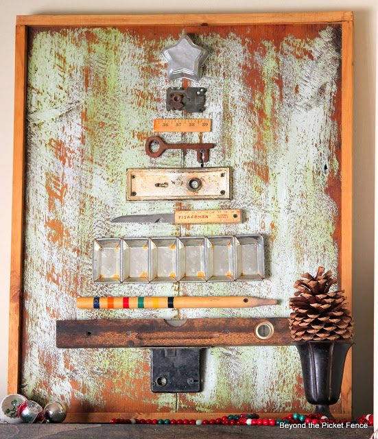 Junk Christmas tree, by Beyond The Picket Fence, featured on https://www.funkyjunkinteriors.net/