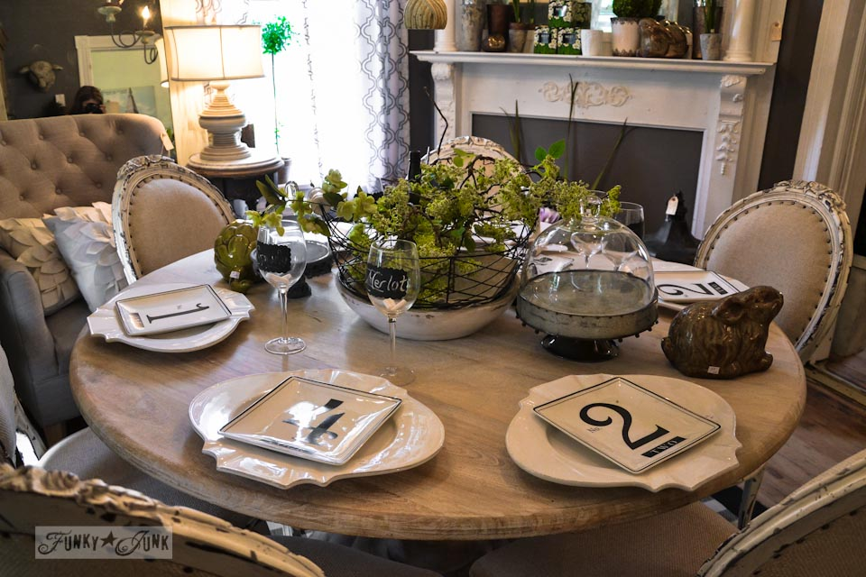 Tone on tone tablescape  / 9 - A tour of Lucketts Design House via https://www.funkyjunkinteriors.net/