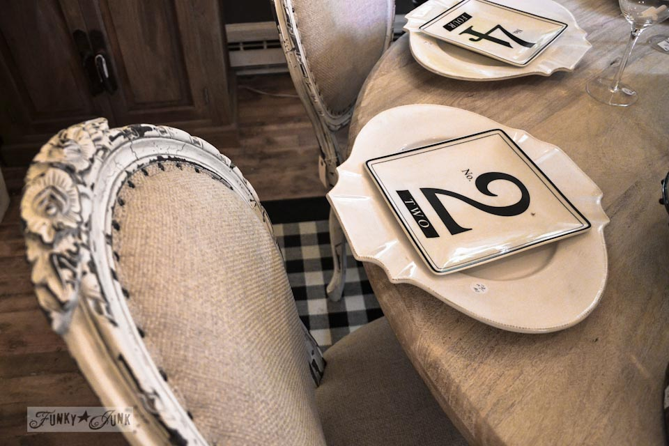 Burlap chairs and numbered plates  / 9 - A tour of Lucketts Design House via https://www.funkyjunkinteriors.net/
