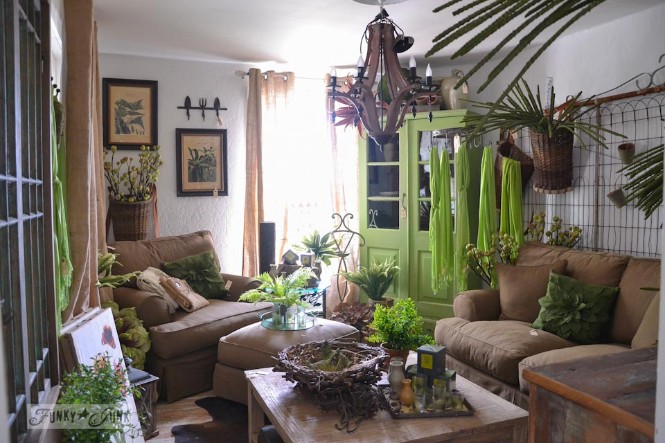 A lime green jungle styled sitting room / 9 - A tour of Lucketts Design House via https://www.funkyjunkinteriors.net/