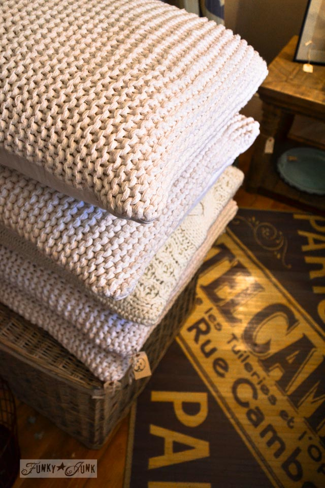 Sweater pillows / 9 - A tour of Lucketts Design House via https://www.funkyjunkinteriors.net/