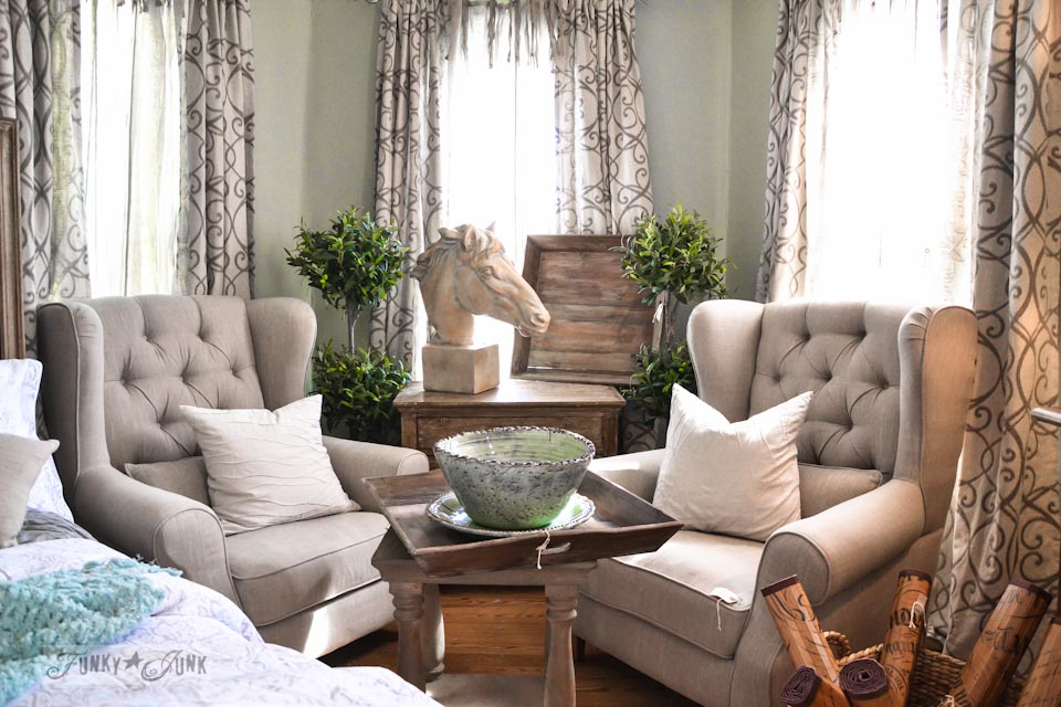 Tan wing chairs / 9 - A tour of Lucketts Design House via https://www.funkyjunkinteriors.net/