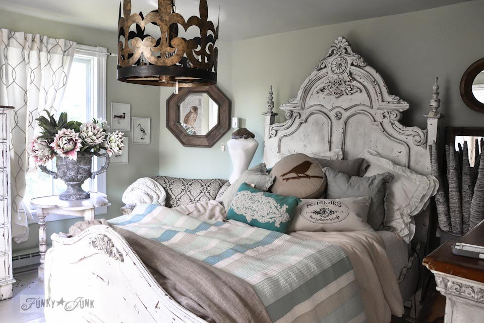 Elaborate white headboard  / 9 - A tour of Lucketts Design House via https://www.funkyjunkinteriors.net/