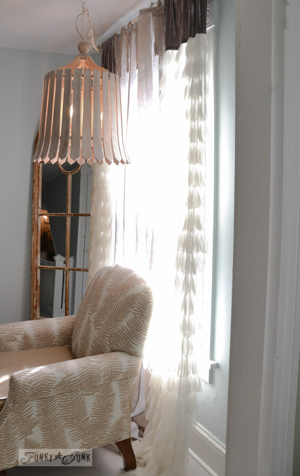 Petal styled sheers with basket chandelier / 9 - A tour of Lucketts Design House via https://www.funkyjunkinteriors.net/