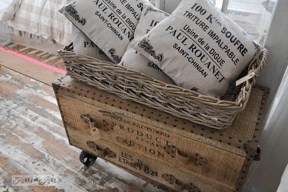 Lettered trunk on wheels and french pillows  / 9 - A tour of Lucketts Design House via https://www.funkyjunkinteriors.net/