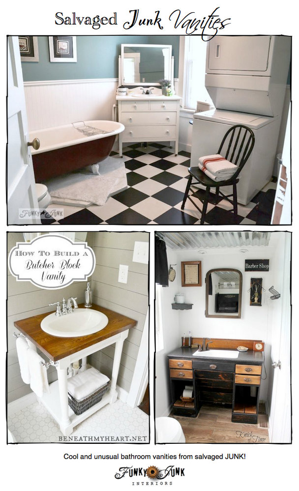 Salvaged Junk Bathroom Vanities - creative up-cycled features, with a themed link party via https://www.funkyjunkinteriors.net/