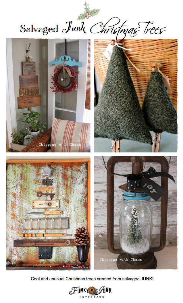 Salvaged Junk Christmas Trees - creative features and a themed link party via https://www.funkyjunkinteriors.net/