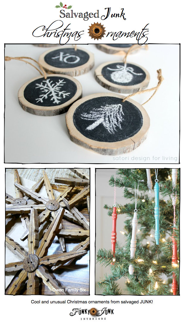 Check out these fabulous Christmas Junk Ornaments, features and a themed link party via https://www.funkyjunkinteriors.net/