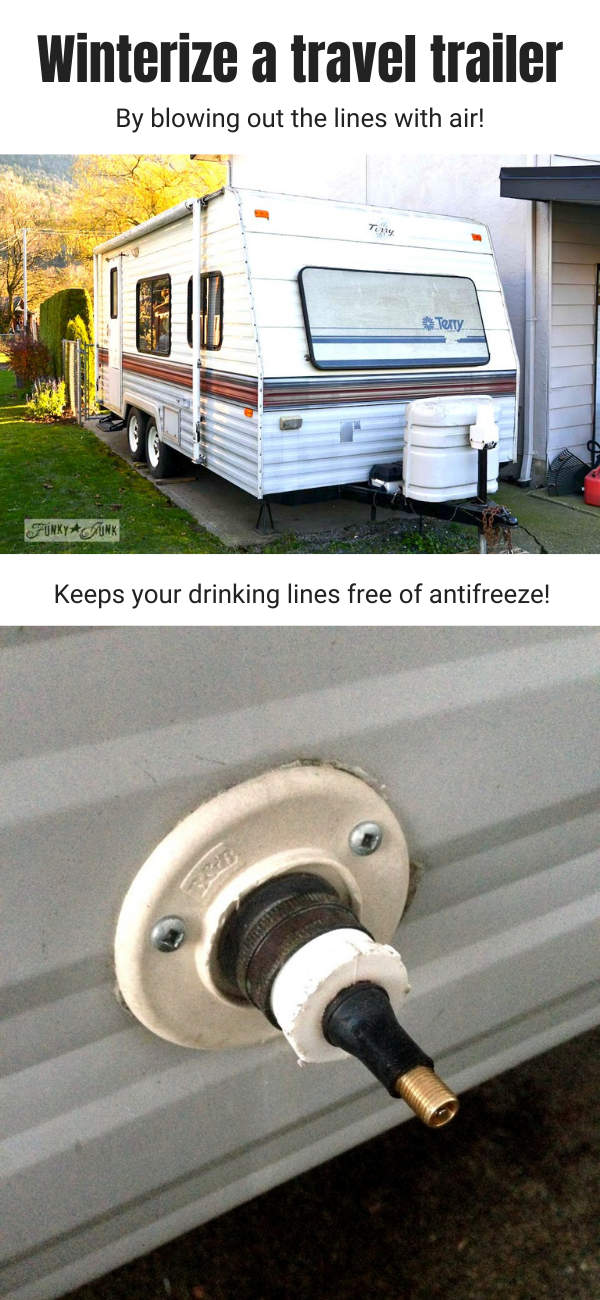Winterizing your travel trailer is a must! However here is an easy way without adding antifreeze to any of the drinking pipes, resulting in cleaner lines. All you need is an air compressor and 1 special adapter!