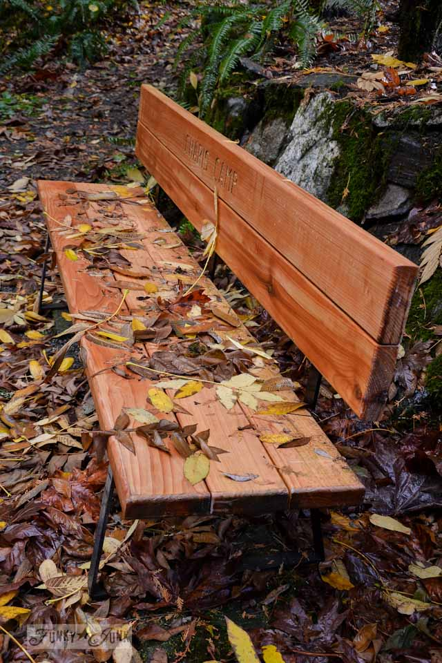 leaf filled bench in the woods - part of / Thirsting after the right water - an inspiring read / funkyjunkinteriors.net