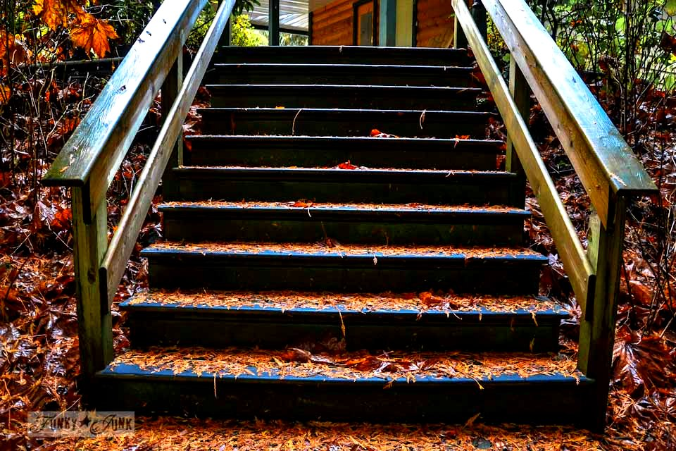 Fall leaves on steps / Unplugging and retreating at Charis Camp - fall photography and an experience via https://www.funkyjunkinteriors.net/