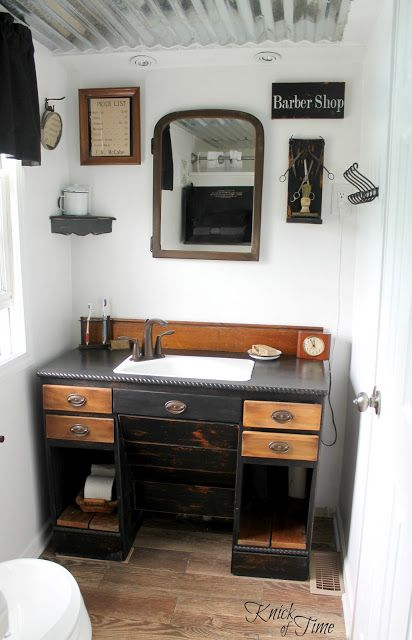 From antique desk to cool bathroom vanity, by Knick of Time, featured on https://www.funkyjunkinteriors.net/