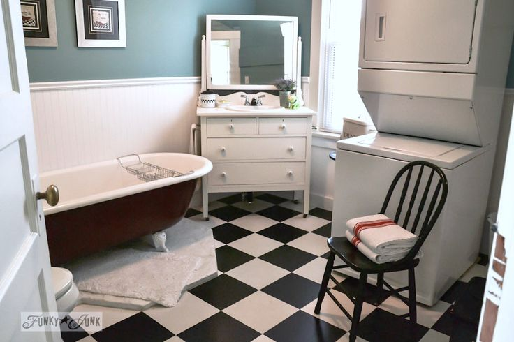 Dresser and mirror bathroom vanity, part of an amazing cottage tour, via https://www.funkyjunkinteriors.net/