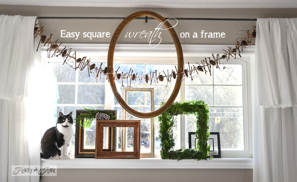 How to make a square evergreen wreath on a picture frame. So easy! via https://www.funkyjunkinteriors.net/