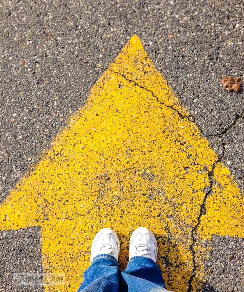 Yellow road arrow / part of 6 reasons why we joined a real gym via FunkyJunkInteriors.net