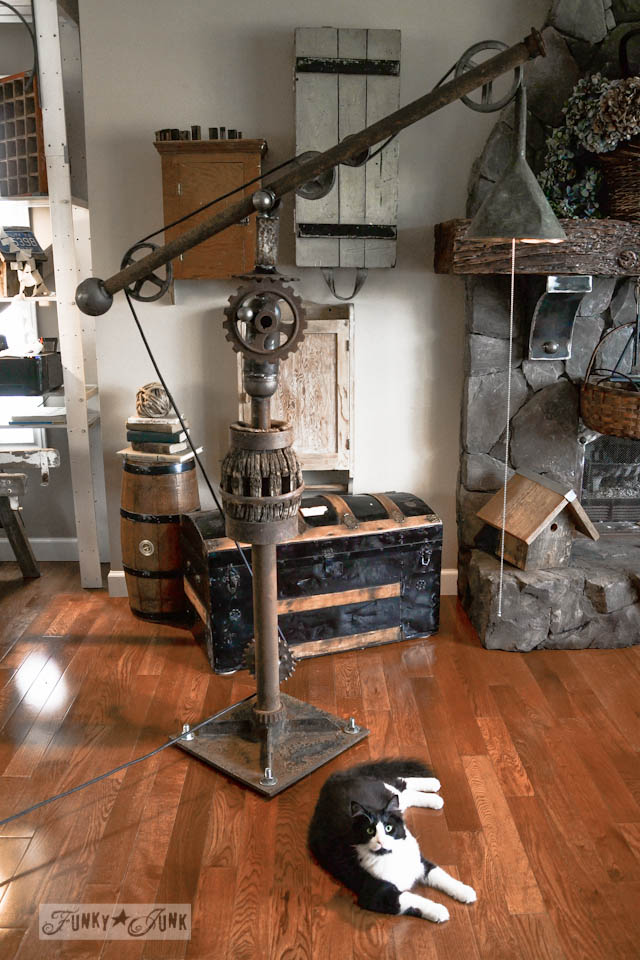 Potter Barn inspired oil funnel rusty gear junk lamp via https://www.funkyjunkinteriors.net/