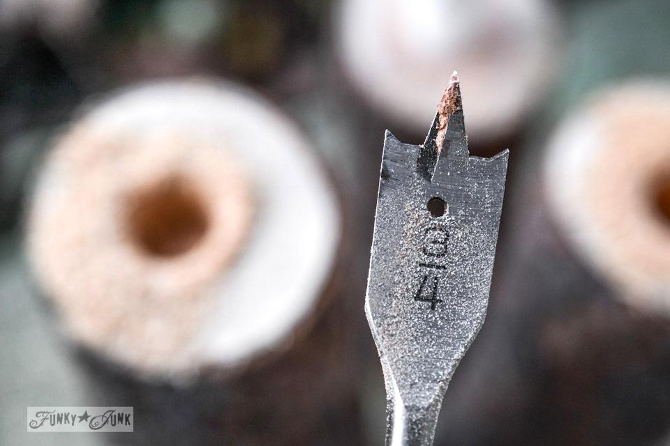 spade drill bit / Reclaimed wood cutting board Apple Farm tray / funkyjunkinteriors.net