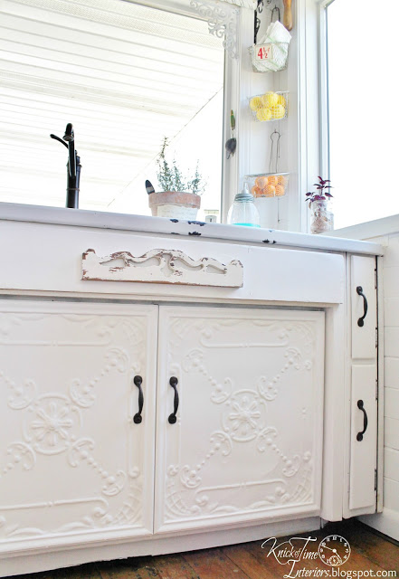 Antique ceiling tile cabinet doors, by Knick of Time featured on http://www.funkyjunkinteriors.net/