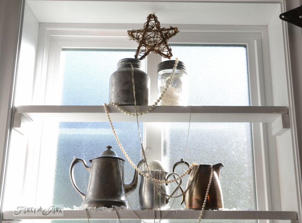 Silver bling Christmas tree window shelves via https://www.funkyjunkinteriors.net/