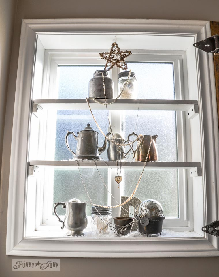Silver Bling Christmas Tree Window Shelves