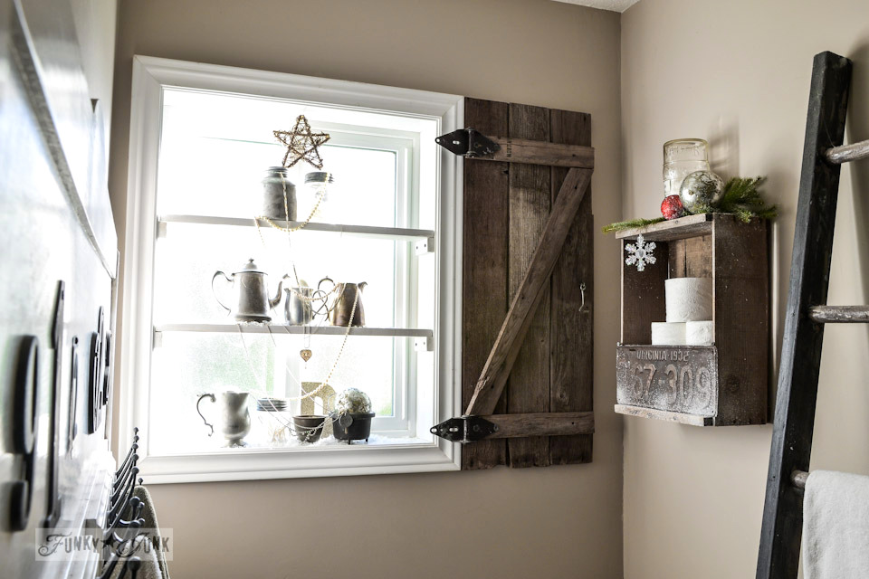 A winter bathroom / Silver bling Christmas tree window shelves via http://www.funkyjunkinteriors.net/