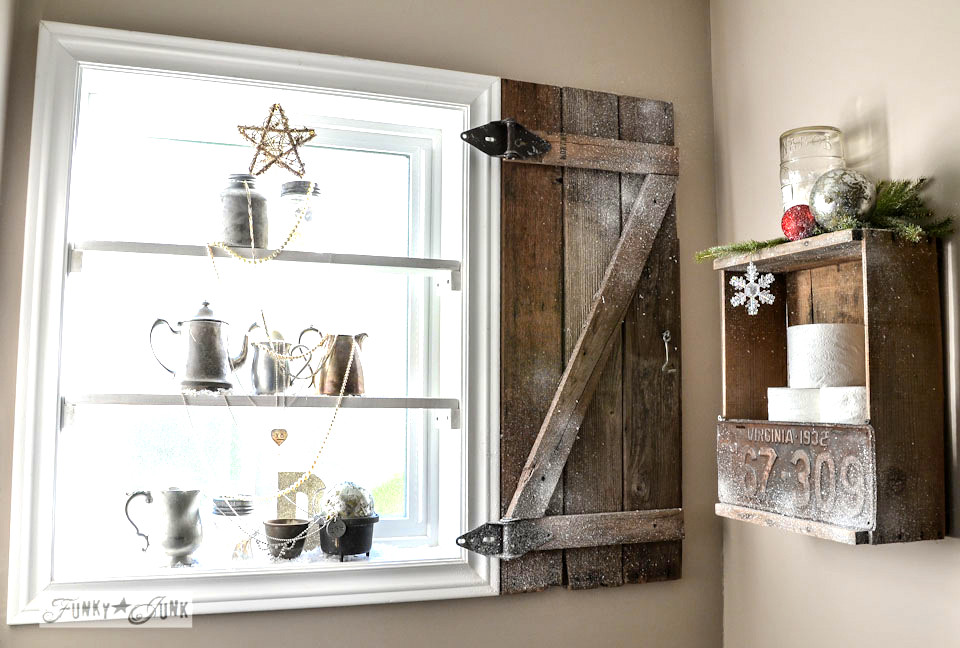 Bathroom shelves, shutter and old crate toilet paper storage / Funky Junk Interiors Christmas Home Tour 2013 via https://www.funkyjunkinteriors.net/