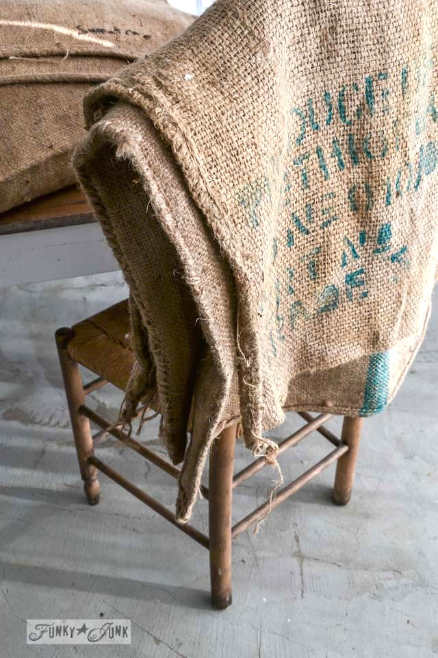 No Sew Burlap Coffee Bean Sack Sofa Pillowsfunky Junk