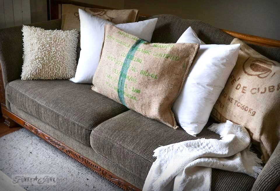 Burlap coffee bean sack pillow cases for sofa via FunkyJunkInteriors.net
