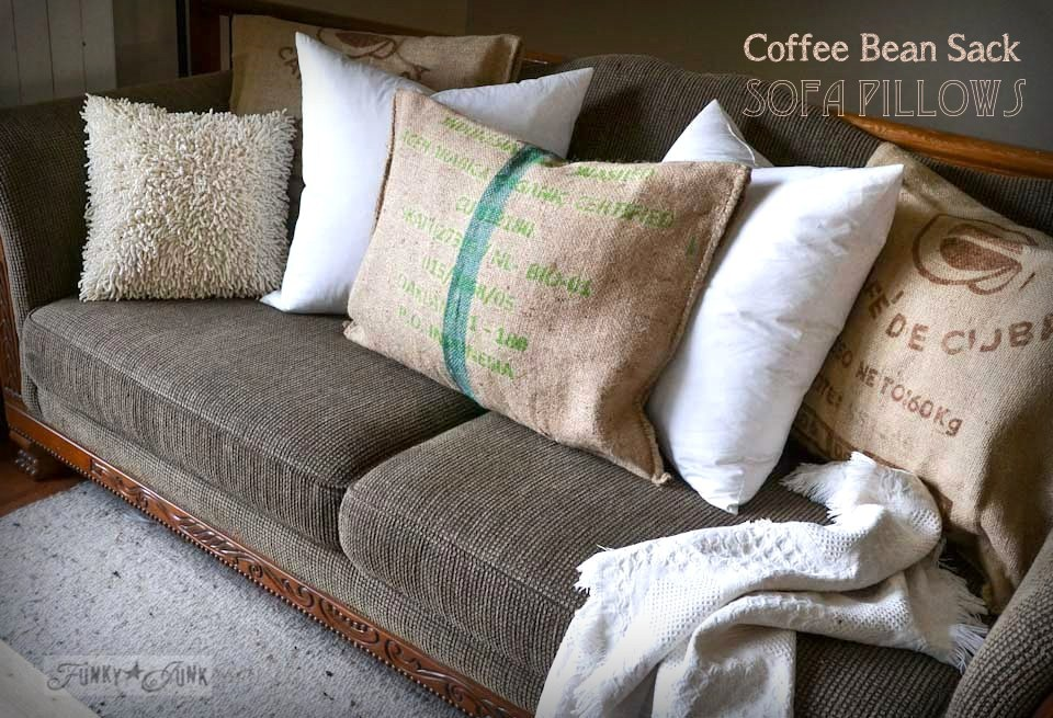 No Sew Burlap Coffee Bean Sack Sofa Pillows... Instantly! Via Http: