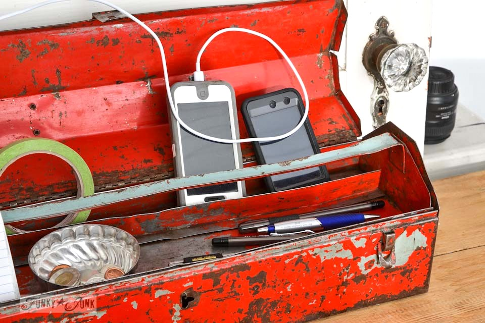 Toolbox charging station phone storage via https://www.funkyjunkinteriors.net/
