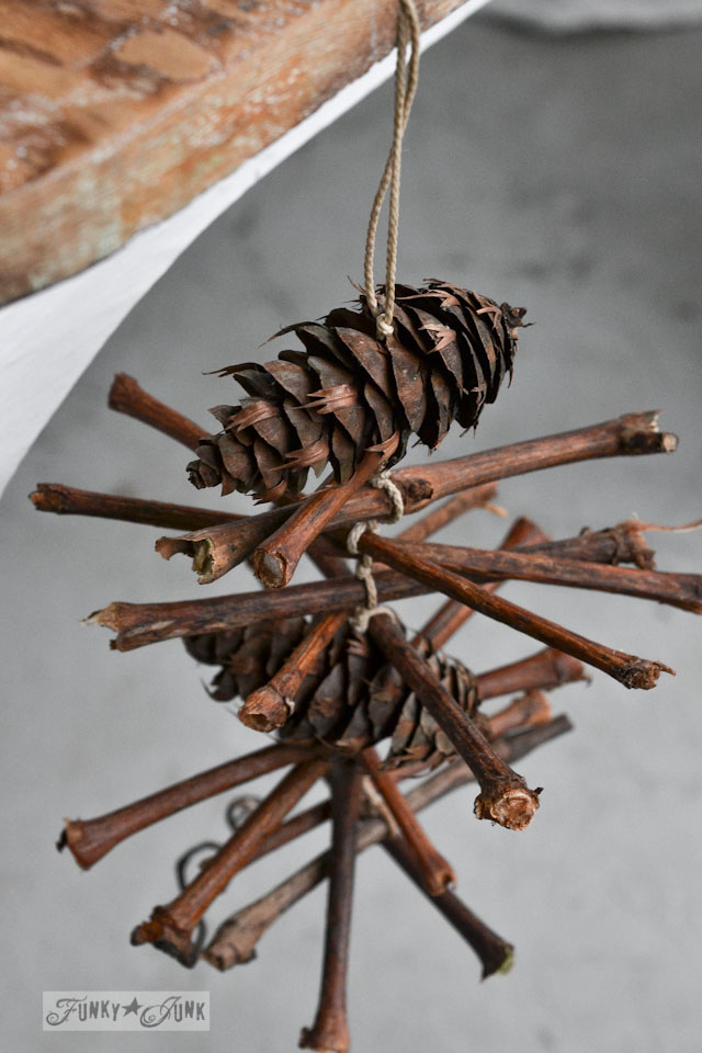 How to make a grapevine twig and pinecone garland for Christmas or any season,  via http://www.funkyjunkinteriors.net/