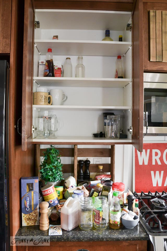 Purging your kitchen cupboards / How to make a DIY #FAILURE a success via FunkyJunkInteriors.net