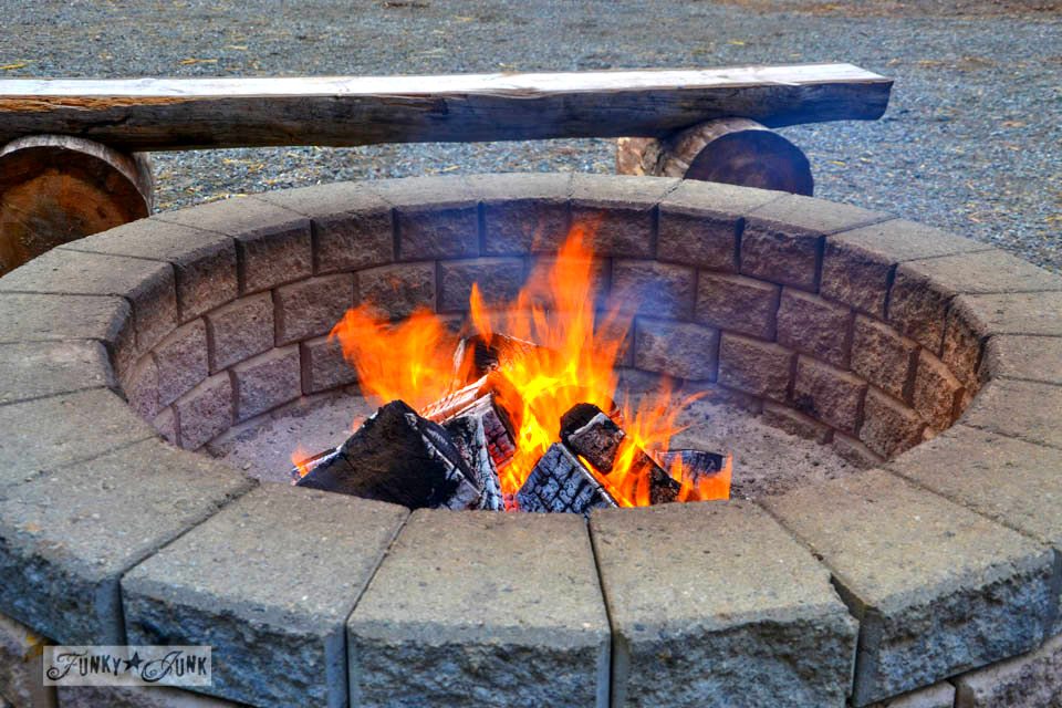 Firepit at the tree farm / Landing the perfect walking tree at Woodsong Christmas Trees - our adventure on visiting a tree farm for the first time  via https://www.funkyjunkinteriors.net