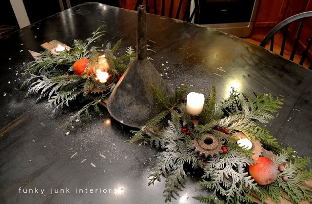 junk funnel Christmas centrepiece