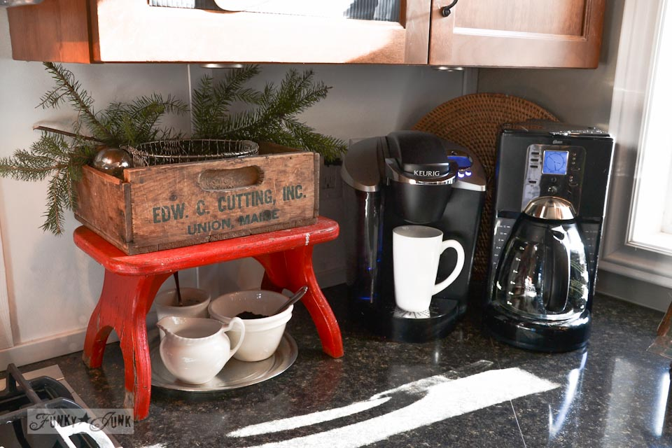 Red bench coffee station / A well lit junky Christmas kitchen / salvaged finds used to deck out this kitchen for Christmas via http://www.funkyjunkinteriors.net/
