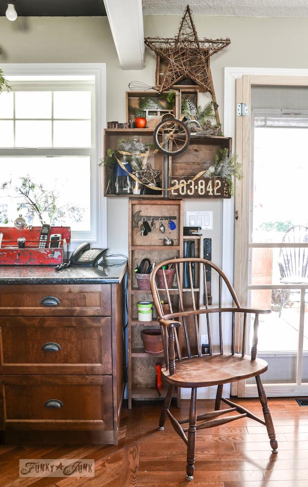 Crates on a wall kitchen office / Funky Junk Interiors Christmas Home Tour 2013 via https://www.funkyjunkinteriors.net/